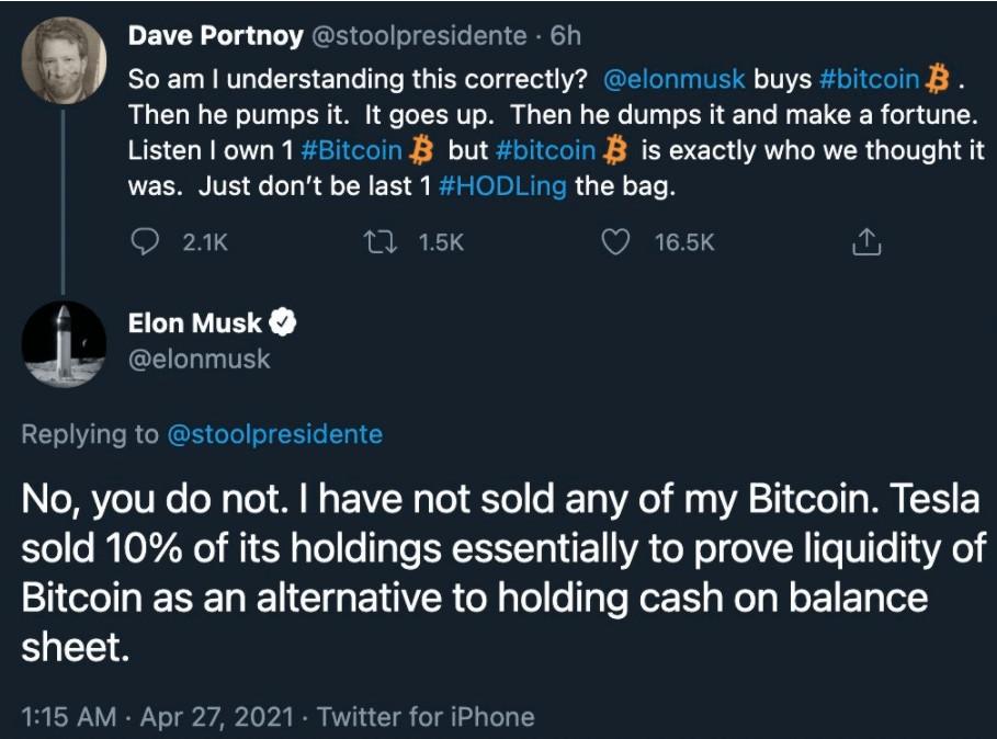 tesla selling bitcoin